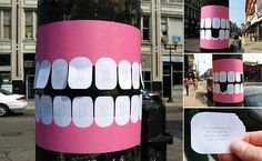 Dentist Telephone Pole Flyer With Tear-Off Teeth Dr. John Mullaly, a dentist in Muskegon, MI, came up with a creative approach to advertising his dental services by posting telephone pole flyers with tear-off teeth. Guerilla Marketing, Street Marketing, Marketing And Advertising, Marketing Ideas, Email Marketing, Marketing Poster, Marketing Branding, Marketing Tactics, Event Marketing