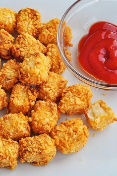 Homemade Oven Baked Tater Tots... Even though these tater tots are baked in the oven and not dunked in the deep fryer, they are perfectly crispy