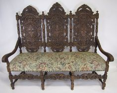 c1900 heavily carved oak setee sofa at the raleigh furniture gallery