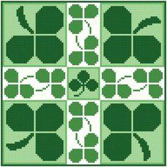 Shamrocks cross stitch pattern.