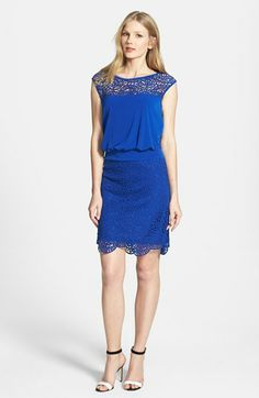 Laundry by Shelli Segal Lace Detail Jersey Blouson Dress available at #Nordstrom