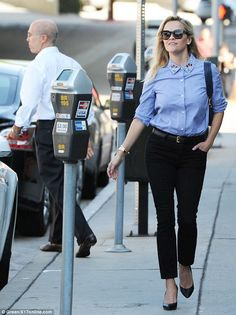 Making an exit: The actress was spotted grabbing lunch, where DreamWorks Animation CEO Jef...