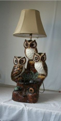 Vintage 70's Owl Lamp Three Owls Turtle and Snail by EdnaLouises