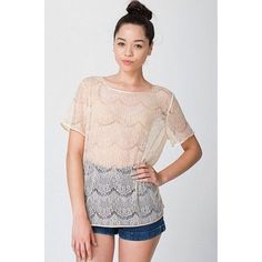 "American Apparel ""El Salvador"" Lace Top Feminine SS lace top in pale pink. Easy, comfy, and versatile-- layer under a jacket for work or pair with a bralet at night. Gently worn, no flaws. Size M/L, 100% nylon. American Apparel Tops Blouses"