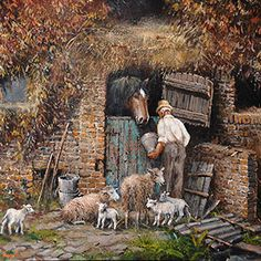 Oil Painting Pictures, Pictures To Paint, Steinmetz, Farm Art, Cottage Art, Medieval Life, Country Scenes, Indian Art Paintings, Vintage Farm