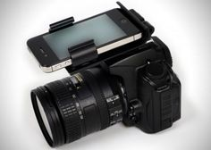 A dock for your DSLR where you can operate your iPhone as a flash, a level, a microphone or even filming while you shoot.
