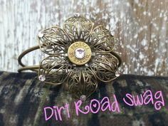 Antique+Brass+Flower+Cuff+with+Brass+38+special+by+DirtRoadSwag,+$20.00