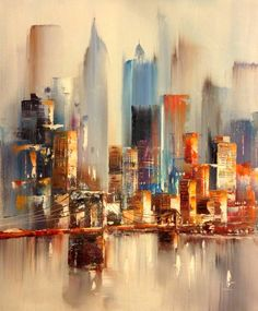 Painting Watercolor City Watercolour 54 Ideas For 2019 Abstract City, Abstract Landscape, Landscape Paintings, Watercolor Paintings, Watercolor City, Modern Art Paintings, City Landscape, New York Painting, City Painting
