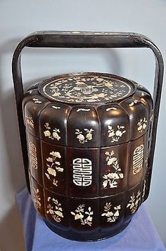 Antique Chinese Lacquer & Mother Of Pearl Qing Dynasty Wedding Basket Lunch Box.