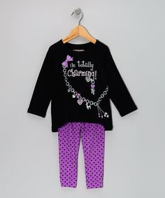 Take a look at this Black 'Totally Charming' Tunic & Purple Dot Leggings - Infant & Toddler on zulily today!