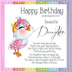 In this post, we have shared best happy birthday wishes for daughter. Make your daughter more happy with top birthday quotes, messages, SMS on her birthday. 25th Birthday Wishes, Birthday Month Quotes, Birthday Verses For Cards, Birthday Poems, Birthday Wishes Quotes, Happy Birthday Messages, 25 Birthday, Birthday Sayings, Special Birthday