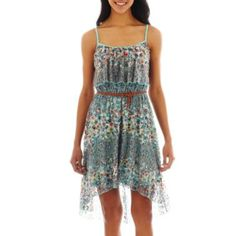 Love Reigns Belted Floral Print High-Low Lace Dress  found at @JCPenney