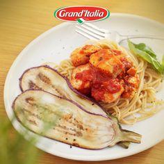 Lekker en snel op tafel, Spaghetti Integrali met zalm en aubergine. #pastacreatie