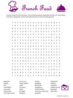 Free printable word search featuring French foods: 27 words from baguette to tarte tatin.