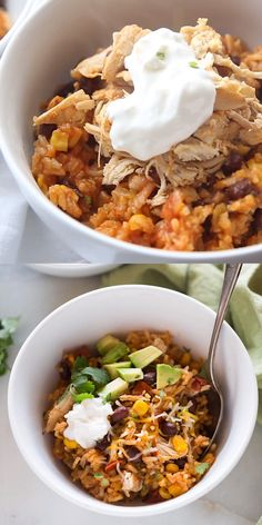 Instant Pot Chicken Taco Bowls - - This all in one dinner has quickly become a family favorite! Instant Pot Chicken Taco Bowls all cooked together in one pot with rice, black beans, corn, salsa chicken and seasonings. Best Instant Pot Recipe, Instant Pot Dinner Recipes, Recipes Dinner, Chicken Recipe Instant Pot, Chicken And Beans Recipe, One Pot Recipes, Soup Recipes, Frozen Chicken Recipes, Ninja Recipes