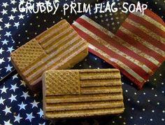 Grungy Primitive Americana Flag Soap