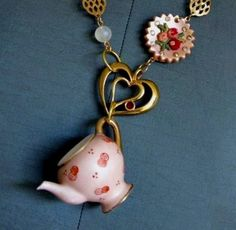 Vintage repurposed pink Tea Party necklace by etcetrix on Etsy, $58.00