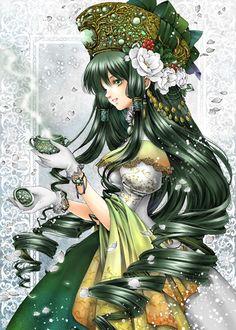 Jade princess with long curly green hair, green eyes, yellow dress,  gold crown by manga artist Shiitake.