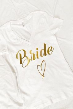 Bride GOLD vneck shirt Wedding Bride To Be Bride Shirt Honeymoon Bachelorette…