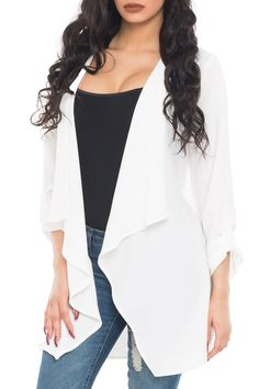 LONG SLEEVE DUSTER WITH CASCADING OPEN FRONT