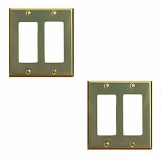 2 Classic Bright Solid Brass Double GFI switch plate