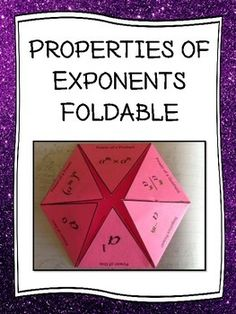 Rules or properties of exponents foldable is designed to use in an interactive notebook to be a reference for the rules or properties of exponents. The rules of exponents  or properties are shown using variables and with words.