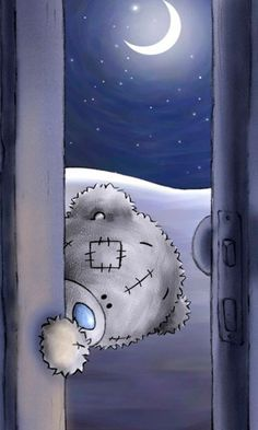"Cute Tatty Teddy: just peeping in to say ""good night, sweet dreams!"""