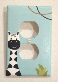 """Hand Painted Nursery Outlet Cover (Lambs & Ivy  """"Peek a Boo Jungle"""")"""