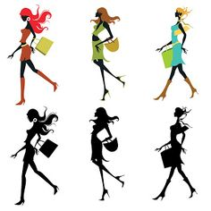 Free 6 SVG Digi Stamps Clip Arts Silhouette Girls