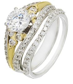 Diamond Wedding Ring Set, .95 Carat Diamonds on 14K White & Yellow Gold
