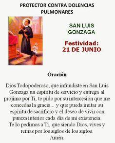 San Luis Gonzaga, protector dolencias pulmonares.