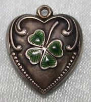 Vintage Sterling Silver Green Enameled Lucky 4 Leaf Clover Puffy Heart Charm