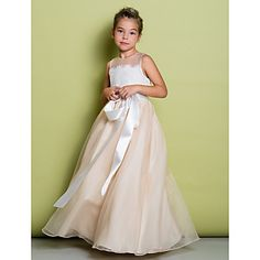 A-line+Floor-length+Flower+Girl+Dress+-+Lace+/+Organza+Sleeveless+Jewel+with+Lace+–+USD+$+89.99