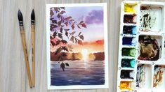 Watercolor Art Diy, Watercolor Sunset, Watercolor Landscape Paintings, Watercolour Tutorials, Lake Painting, Beautiful Sunset, Medium Art, Art Tutorials, Art Projects
