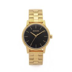 Nixon Small Kensington Watch ($175) ❤ liked on Polyvore featuring jewelry, watches, gold tone jewelry, nixon, water resistant watches, nixon wrist watch and slim watches