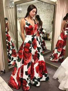 New Arrival 2019 Floral Evening Dresses Robe De Soiree V Neck A Line Sexy Cross Back Floor Length Formal Evening Gowns Prom Dresses With Pockets, Pretty Prom Dresses, Prom Party Dresses, Party Gowns, Sexy Dresses, Beautiful Dresses, Fashion Dresses, Graduation Dresses, Dressy Dresses
