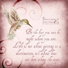 Life is not about getting to a destination, it's about how we live along the way. ~Joel Osteen love the hummingbird :) Fantastic Quotes, Great Quotes, Me Quotes, Wisdom Quotes, Hummingbird Quotes, Hummingbird Tattoo, Hummingbird Meaning, Hummingbird Symbolism, Hummingbird Pictures