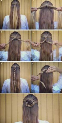 70 Super Easy DIY Hairstyle Ideas for Medium Hair . - 70 Super Easy DIY Hairstyle Ideas for Medium Hair . Easy Hairstyles For Long Hair, Trendy Hairstyles, Braided Hairstyles, Hairstyle Ideas, Fashion Hairstyles, Easy Hairstyles Tutorials, Simple Hairdos, Super Easy Hairstyles, Easy Hairstyles For Everyday