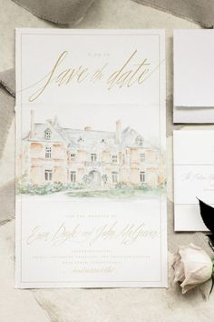 Illustrated European-Inspired Watercolor Save the Dates by Grace + Ardor / Oh So Beautiful Paper
