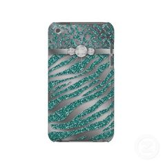 Chic sparkle glitter teal animal print iPod Touch case with digital bling diamonds. $41.95 Silver and teal