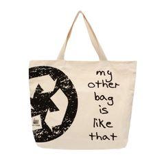 """EcoBag Ecológicas - """"My other bag is like that""""  Lindas ecobags ecológicas em algodão cru e PET reciclado. Seguindo a tendência mundial, a AMA TERRA desenvolveu um produto de alta qualidade e resistência, com estampas exclusivas, preservando o bom gosto e a versatilidade.  Colecione essa ideia!!!  http://www.revendaamaterra.com.br/loja/espaco-ngmarketplace"""