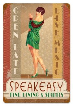 Speakeasy Flapper Pin Up Girl Tin Metal Sign, A nostalgic retro vintage reproduction.