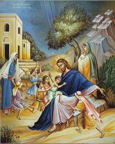 Icona ortodossa di Cristo e i bambini.