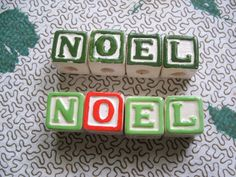 8 Alphabet Ceramic Beads for Christmas Ornament Macrame N O E L 2 sets of 4 NOEL by lookonmytreasures on Etsy