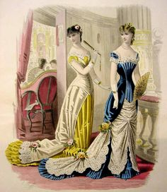The HoopSkirt Society — evening dresses, Revue de la Mode Vintage Gowns, Mode Vintage, Vintage Ladies, Vintage Outfits, Vintage Clothing, 1870s Fashion, Edwardian Fashion, Vintage Fashion, Belle Epoque