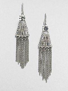 ABS by Allen Schwartz Jewelry Stone Accented Link Chain Chandelier Earrings