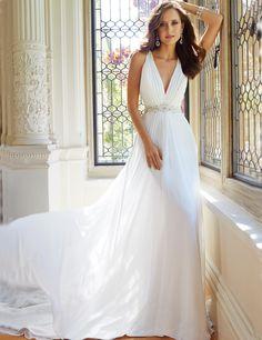 Barato Branco Sexy Vestidos de Casamento 2016 Robe De Casamento Sem Mangas Com…