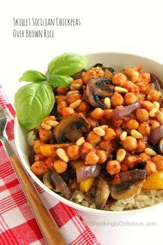 Skillet Sicilian Chickpeas Over Brown Rice | Vegan Chickpea Skillet Dinner | ShockinglyDelicious.com. #McSkilletSauce #SundaySupper