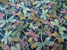 WtW Estate Fabric Dragonfly Blank Quilting 5918 Metallic Garden Nature Quilt