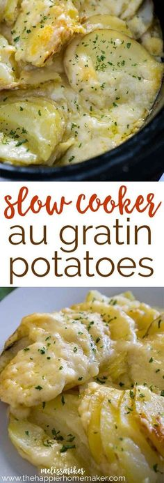 Slow Cooker Au Gratin Potatoes made with gouda cheese-this is comfort food to the extreme, and such an easy recipe using the crock pot!